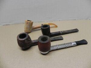 LOT OF 4 VINTAGE SMOKING PIPES - VIKING, CORNCOB, ETCHED WOOD