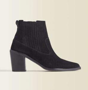 Jigsaw Adrienne Suede Ankle Boots In Black Size 38, 5 Uk Block Heel New