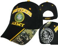 Adult US Retired Army With Seal Black Adjustable Strap Hat Cap
