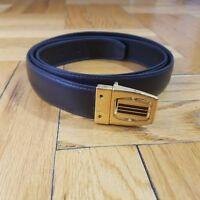 Black Leather Belt   Rotating Buckle   Size 42