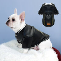 Waterproof PU Leather Dog Jacket Coat Winter Clothes for Pets French Bulldog