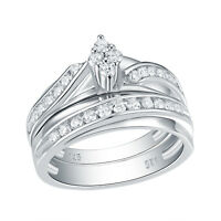 Wedding Band Engagement Ring Set For Women 925 Sterling Silver Round AAA Cz 5-10