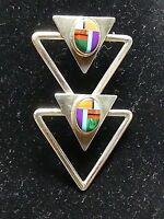 Sterling Silver Cabochon Inlay Scarf Pin Or Pendant AIS Mexico WOW!