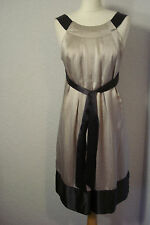 Ted Baker grey/beige metallic look silk satin dress 12