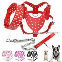 Rhinestone PU Leather Dog Harness&Collar&Leads Set for Large Dogs Pit Bull Boxer