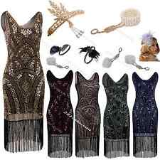 Flapper 1920s Dress Charleston Gatsby Sequin Roaring Fancy Party Fringe Costumes