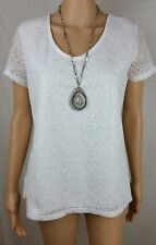 Trent Nathan 10 12 Top White Short Sleeves Lined Casual Work Extravagant