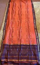 "Saree Sari 192"" X 41"" Orange Mauve Gold Silk India"