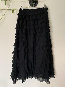 Yen Club - tiered rara maxi skirt - black. size S