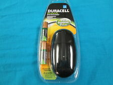 New Duracell Black Color Mini Charger with 2 AA Staycharged Batteries