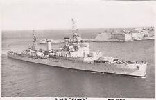 "Royal Navy Real Photo Postcard. HMS ""Kenya"" Cruiser. Valletta, Malta. Pavia 1949"