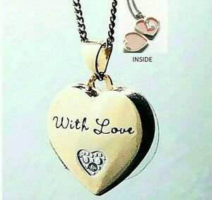 """Ladies 925 Sterling Silver Gold Plated """"With Love"""" hidden """"18"""" Heart Locket"""