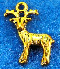 10Pcs. Tibetan Antique Gold 3D Christmas Reindeer DEER Charm Pendant Drops AN161