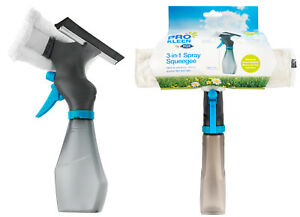 3-in-1 Window Cleaner Spray Bottle Wiper Squeegee Microfibre Pad Glass Cleaning