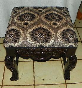 Pine Carved Footstool / Stool  (ST145)