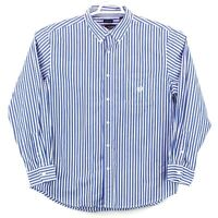 Chaps Easy Care Men's XL Blue White Black Striped LS Button Up Free Shipping euc