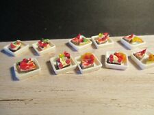 2 DOLLS HOUSE MINIATURE SLICES OF TART ON A PLATE