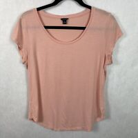 Ann Taylor Light Pink Scoop Neck Top Womens Size Medium Short Sleeve