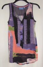 SIMPLY VERA VERA WANG Purple/Multi-Color SPLIT Neck Sleeveless KNIT Top Sz XS-