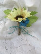Ivory Turquoise Tan Burlap Jute string Boutonniere corsage bridal wedding prom