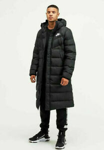 Nike Sportswear Down-Fill Long Mens Windrunner Shield Parka Puffer Jacket Black