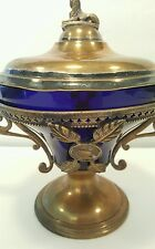 Silver Plate Antique Cobalt Blue Two Handled Dish John O. Mead circa 1846