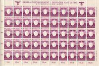SALE Stamp Germany Poland General Gov't Mi 107 Sheet 1943 WWII 3rd Reich MNH