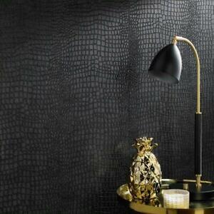 Matt Black Crocodile Skin Effect Wallpaper