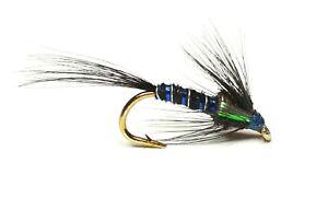 CRUNCHER BLACK HOLOGRAPHIC TROUT FISHING FLIES - SIZE 10