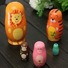 Set of 5pcs Hot Wooden Nesting Doll Matryoshka Animal Russian Doll Paint Gift Jj