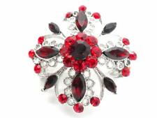 New Red Vintage Style Brooch Crystal Christmas Pin Silver Tone Women New