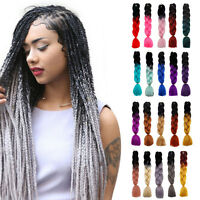 "24"" Ombre Dip Dye Kanekalon Jumbo Braid Two Tone Gradient Hair Extensions Fiber"