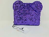Disney Parks Minnie Mouse Purple Potion Sequin Wallet Loungefly NWT Bow Ear Zip