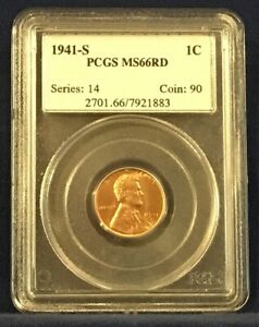 1941S Lincoln Wheat MS 66 RD