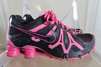 Women's Nike Shox Black and Pink Sneakers Used Size 6Y