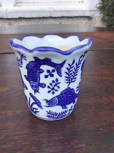 "3.7"" Tall Moyses Stevens London. Blue & White Pottery Vase/Cup? Asian Carp Etc."