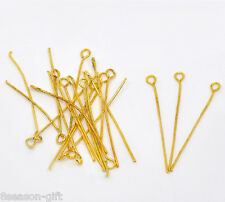 400Pcs Gold Plated Eye Pins 35x0.7mm