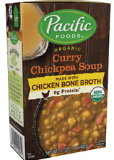 Pacific Foods Organic Curry Chickpea Soup Made with Chicken Bone Broth 17oz 6 ct