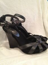 G Series By Cole Haan Wedge Platform Ankle Strap Sandal Black Size 6 1/2B