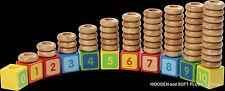 **NEW childs EDUCATIONAL wooden toy STACKING NUMBERS counting subtracting SHAPES