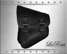 La Rosa Black Leather Cross Laced HD Softail Rigid Left Saddle Bag w/ Red Stitch
