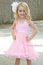 Pink White Polka Dots Party Dress Full Tutu Petti Girl Dress Pettiskirt 2-8Year