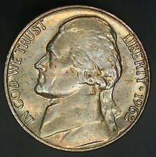 1962-P Jefferson Nickel Nicely Toned Nickle A Beautiful Example UNC! GC294
