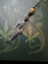 Mermaid Skeleton & Bone Skull Pendant  - Pagan, Wicca, Witchcraft, Fantasty