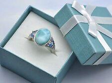 Larimar Aquamarine Combination 14X10mm .925 Sterling Silver designer Ring.size 8