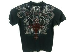 Affliction Mens XL Short Sleeve Polo Shirt Distressed Made in USA Black Cotton