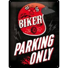 TARGHETTA in Lamiera 30 x 40 CM, Biker Parking Only-helmet, pubblicitari SCUDO ART. 23230