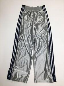VTG 90s Adidas Mens Large Basketball Warm Up Track Pants Gray Snap Pockets