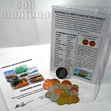 HISTORICAL SHIP COINS OF THE WORLD - Set of 20 coins from 20 Countries with List
