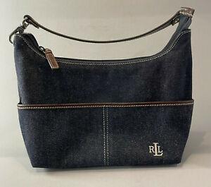 Ralph Lauren Purse Designer Blue Jean Blue Hand Bag Small Dark Wash Denim CUTE!